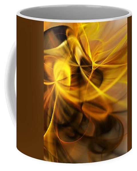 Fractal Coffee Mug featuring the digital art Gold and Shadows by David Lane