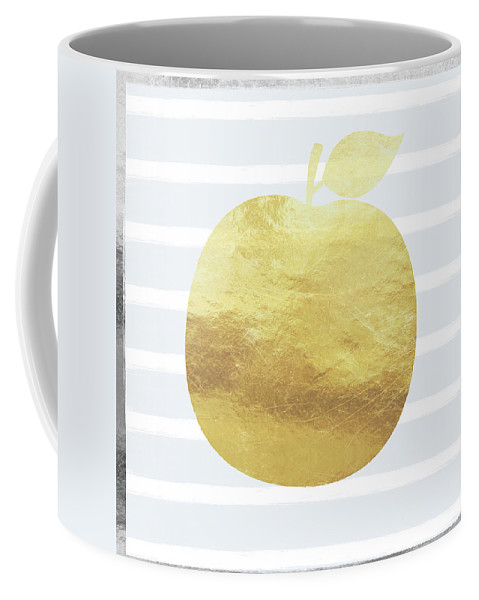Apple Coffee Mug featuring the digital art Gold Apple- Art By Linda Woods by Linda Woods