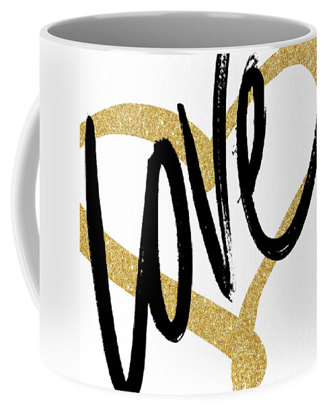 Gold Coffee Mug featuring the painting Gold Heart Black Script Love by South Social Studio