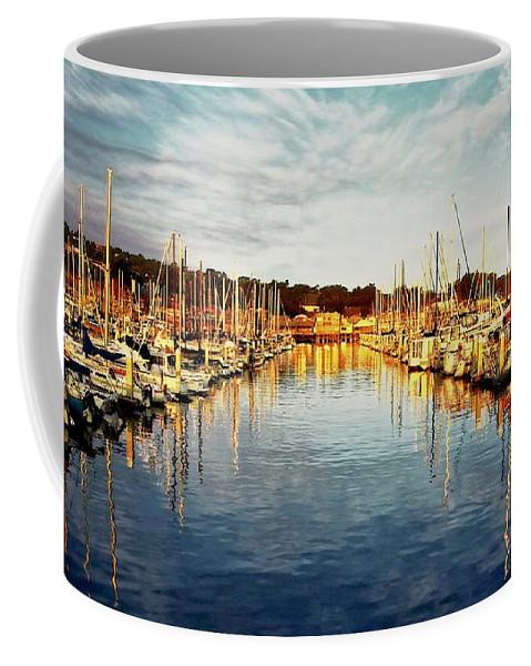 Sunrise Coffee Mug featuring the photograph Gold Light, Monterey Marina by Zayne Diamond Photographic
