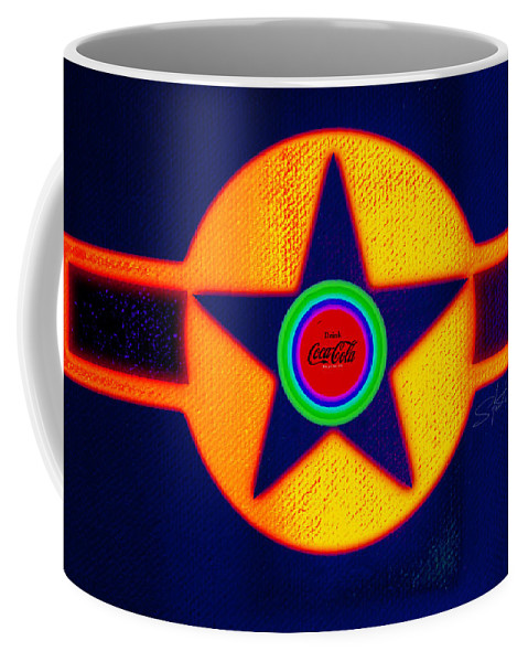Usaaf Coffee Mug featuring the painting Gold On Blue With Cola by Charles Stuart