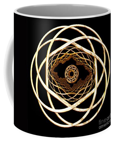 Fractal Coffee Mug featuring the digital art Gold On Gold by Deborah Benoit