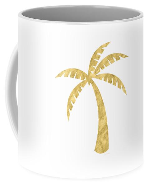 Palm Tree Coffee Mug featuring the mixed media Gold Palm Tree- Art by Linda Woods by Linda Woods