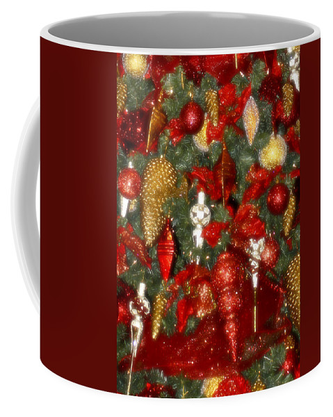Christmas Coffee Mug featuring the photograph Gold Pinecone Tree Detail Fashions For Evergreens Hotel Roanoke 2009 by Teresa Mucha