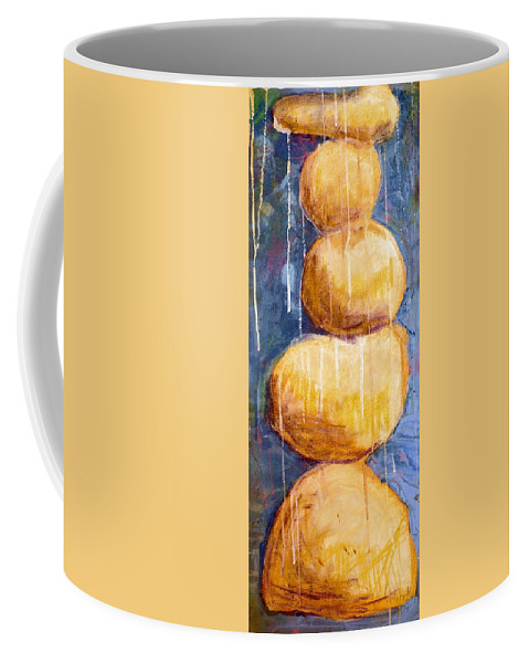 Coffee Mug featuring the painting Gold Stones by Jane Clatworthy