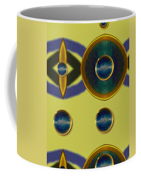 Abstract Coffee Mug featuring the mixed media Golden Abstracte by Pepita Selles