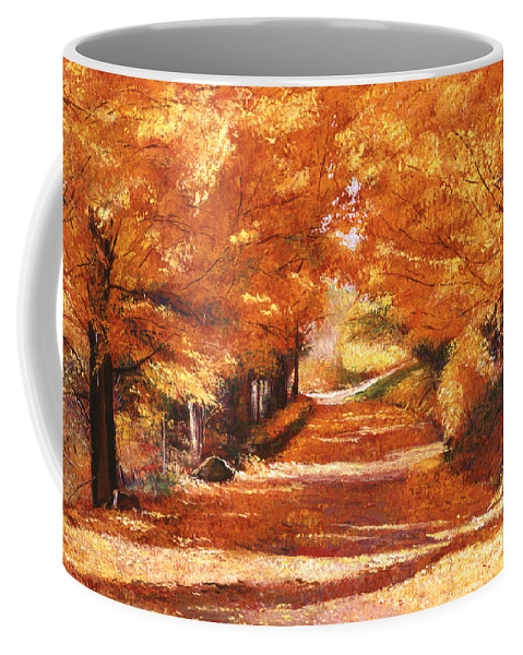 Autumn Coffee Mug featuring the painting Golden Autumn by David Lloyd Glover