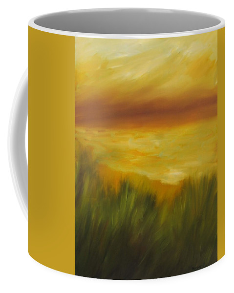 Gold Coffee Mug featuring the painting Golden Beach by Shannon Grissom