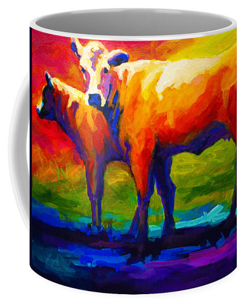 Cows Coffee Mug featuring the painting Golden Beauty by Marion Rose