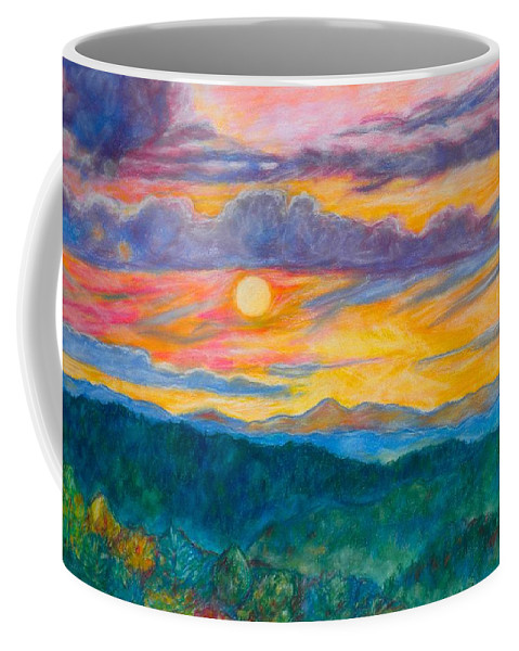 Landscape Coffee Mug featuring the painting Golden Blue Ridge Sunset by Kendall Kessler