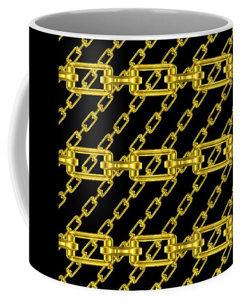 Seamless Coffee Mug featuring the digital art Golden Chains With Black Background Seamless Texture by Miroslav Nemecek