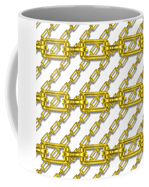 Seamless Coffee Mug featuring the digital art Golden Chains With White Background Seamless Texture by Miroslav Nemecek