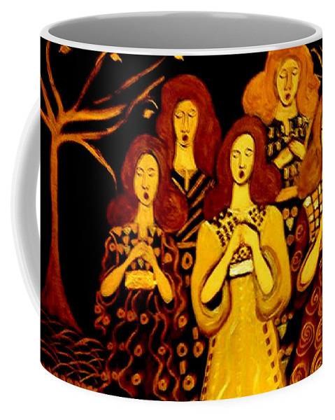 Choir Coffee Mug featuring the painting Golden Chords by Rusty Gladdish