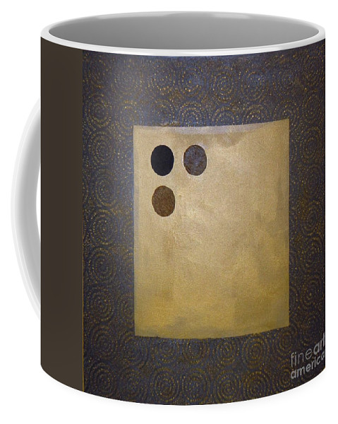 Sets Coffee Mug featuring the mixed media Golden Coin by Marlene Burns