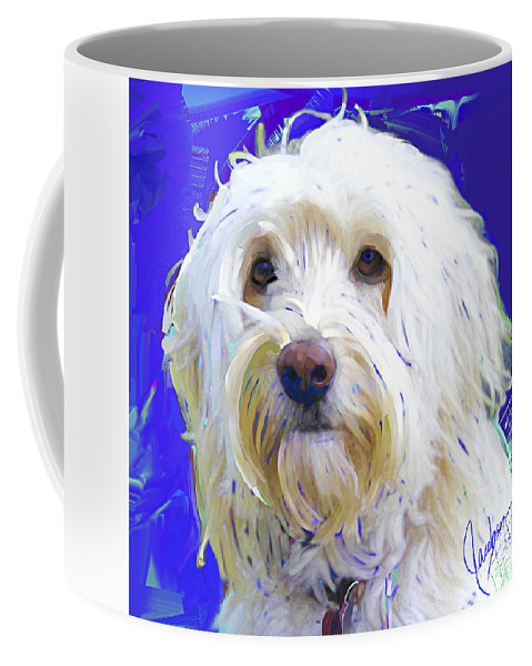 Golden Doodle Coffee Mug featuring the painting Golden Doodle 4 by Jackie Jacobson
