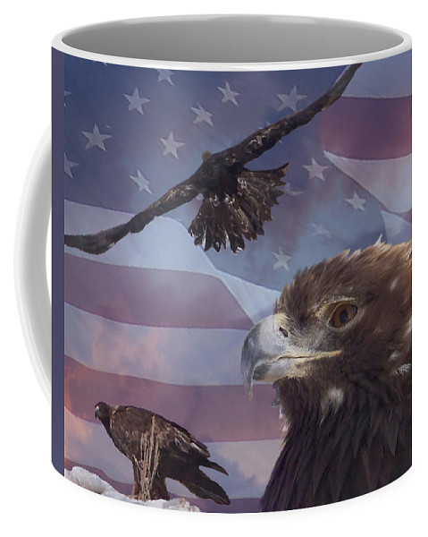 American Flag Coffee Mug featuring the photograph Golden Eagle Collage by Ernie Echols