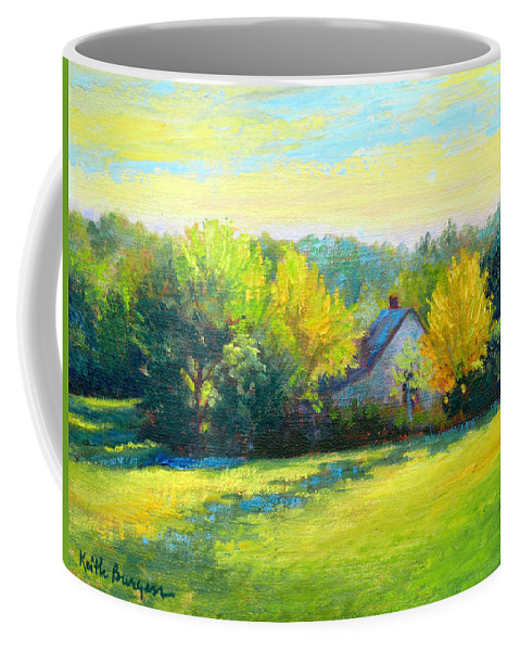 Landscape Coffee Mug featuring the painting Golden Evening by Keith Burgess