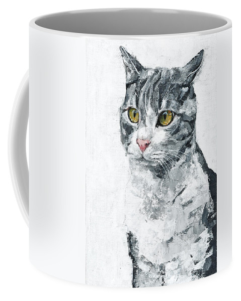 Cat Coffee Mug featuring the painting Golden Eyes by Maria Arnaudova