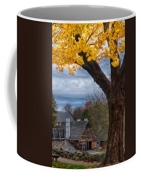 Autumn Foliage New England Coffee Mug featuring the photograph Golden Fall Colors Over Iron Works by Jeff Folger