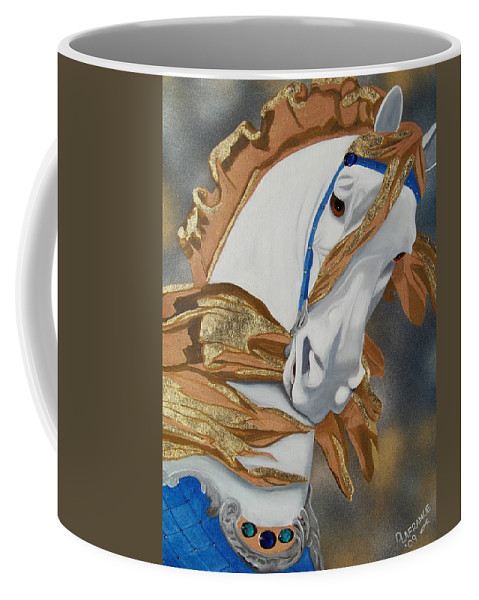 Carousel Horse Coffee Mug featuring the painting Golden Fantasy by Debbie LaFrance