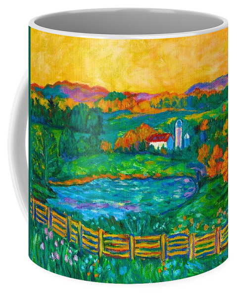 Landscape Coffee Mug featuring the painting Golden Farm Scene Sketch by Kendall Kessler