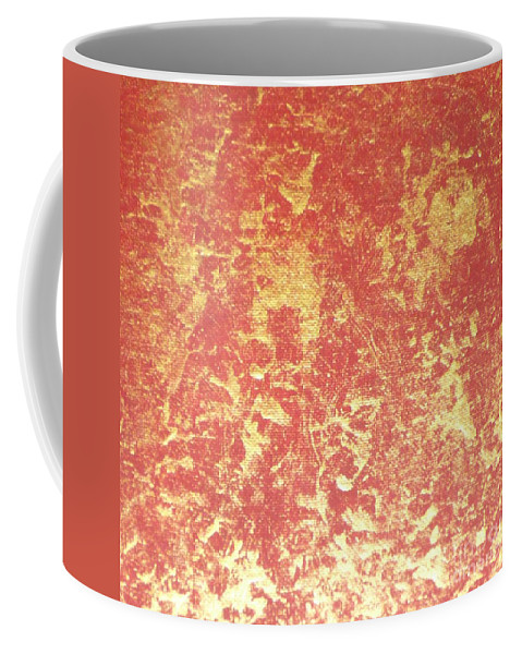 Red Coffee Mug featuring the painting Golden Flames by Barb Montanye Meseroll