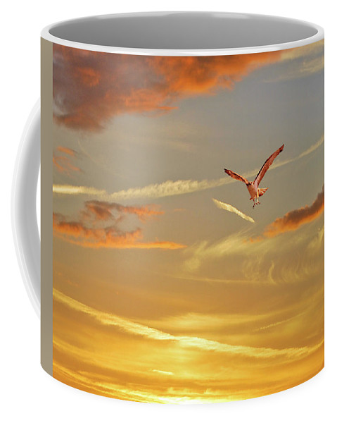 Sky Coffee Mug featuring the photograph Golden Flight by Adele Moscaritolo