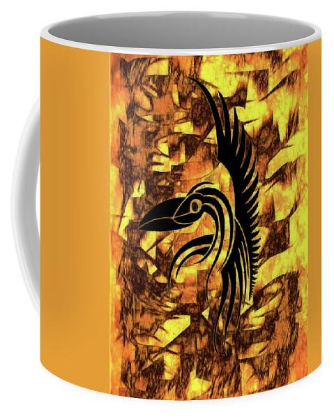 Golden Flight Contemporary Abstract Coffee Mug featuring the mixed media Golden Flight Contemporary Abstract by Georgiana Romanovna