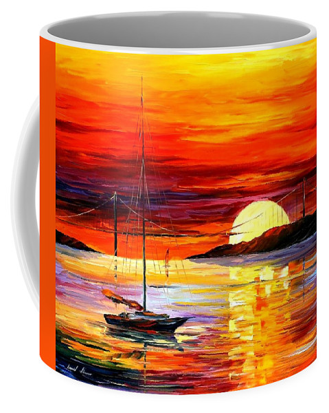 Afremov Coffee Mug featuring the painting Golden Gate Bridge By The Sunset by Leonid Afremov