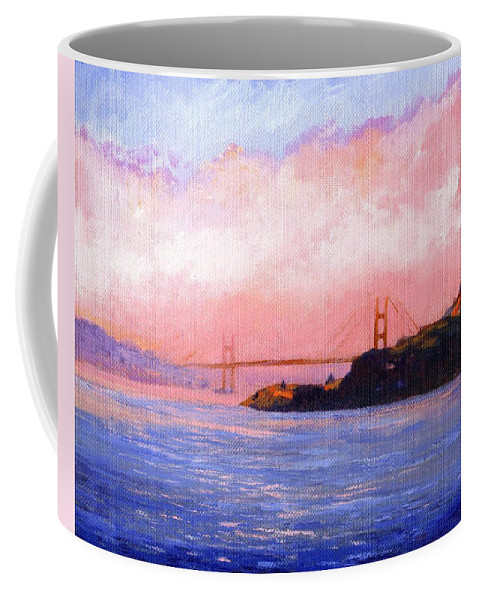 Landscape Coffee Mug featuring the painting Golden Gate Bridge by Frank Wilson