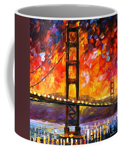 City Coffee Mug featuring the painting Golden Gate Bridge by Leonid Afremov