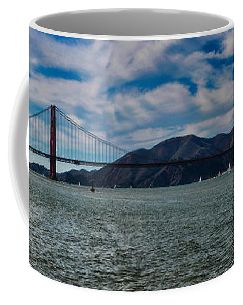 San Francisco Coffee Mug featuring the photograph Golden Gate Bridge Panoramic by Tommy Anderson