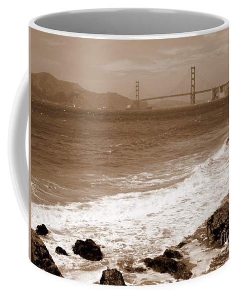 Golden Gate Bridge Coffee Mug featuring the photograph Golden Gate Bridge With Shore - Sepia by Carol Groenen