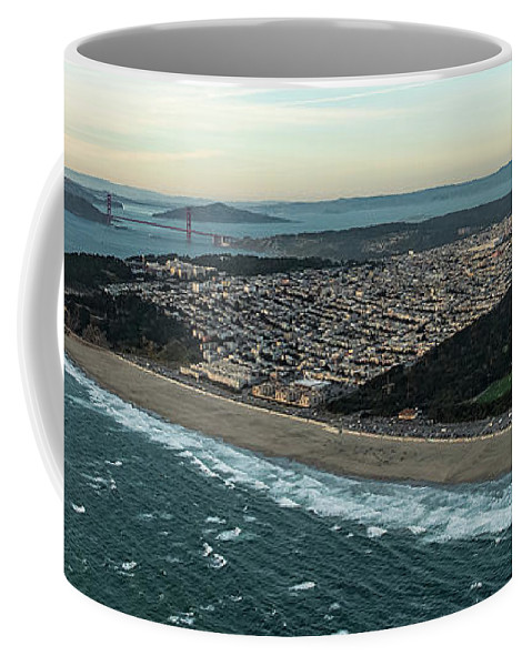 San Francisco Bay Coffee Mug featuring the photograph Golden Gate Park And Ocean Beach In San Francisco by David Oppenheimer