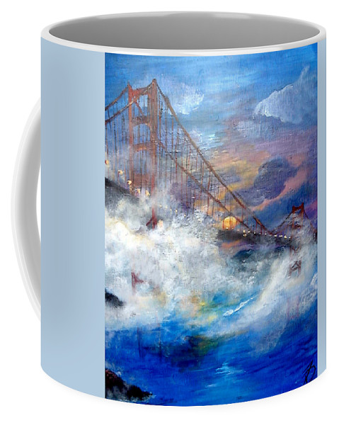 Golden Gate Coffee Mug featuring the painting Golden Gate Sunset by Travis Day