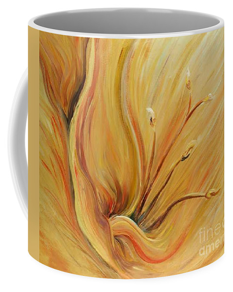 Gold Coffee Mug featuring the painting Golden Glow by Nadine Rippelmeyer