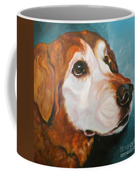 Dogs Coffee Mug featuring the painting Golden Grandpa by Susan A Becker