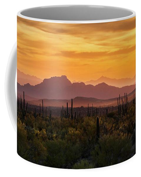 Sunset Coffee Mug featuring the photograph Golden Hills by Saija Lehtonen
