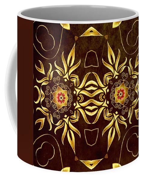 Abstract Coffee Mug featuring the digital art Golden Infinity by Georgiana Romanovna