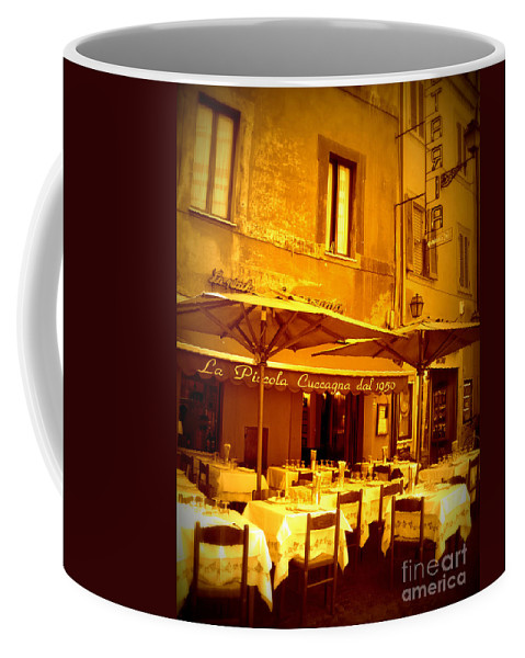 Italy Coffee Mug featuring the photograph Golden Italian Cafe by Carol Groenen