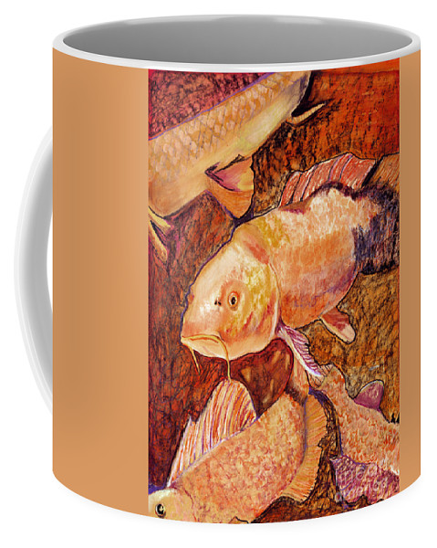 Fish Coffee Mug featuring the painting Golden Koi by Pat Saunders-White