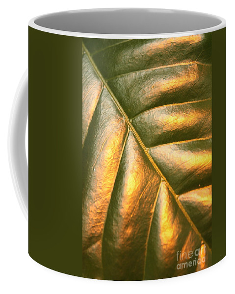 Gold Coffee Mug featuring the photograph Golden Leaf by Carol Groenen