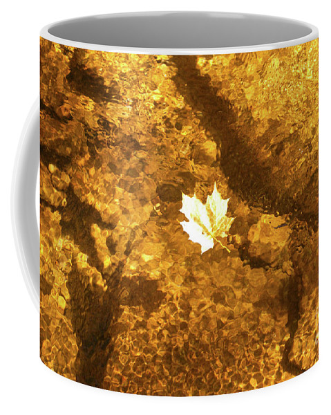 Leaf Coffee Mug featuring the photograph Golden Leaf In Water by Kevin Gladwell