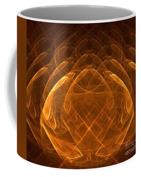 Background Coffee Mug featuring the digital art Golden Lotus by Yali Shi