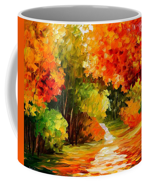 Afremov Coffee Mug featuring the painting Golden Morning by Leonid Afremov