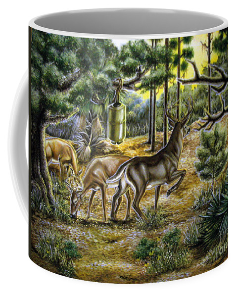 Deer Coffee Mug featuring the painting Golden Opportunity by Monica Turner
