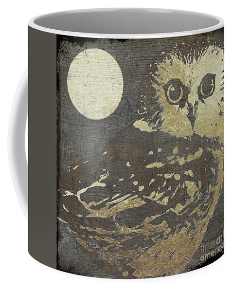 Owl Coffee Mug featuring the painting Golden Owl by Mindy Sommers
