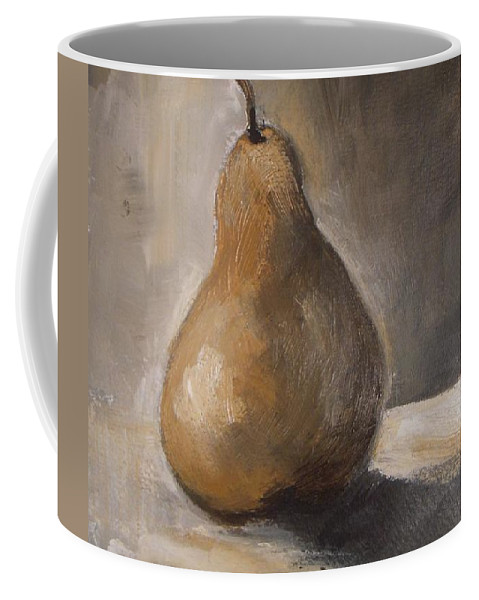 Abstract Coffee Mug featuring the painting Golden Pear by Vesna Antic