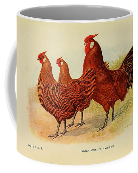 Poultry Coffee Mug featuring the painting Golden Penciled Hamburgs by Edwin Megargee