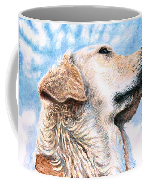 Dog Coffee Mug featuring the painting Golden Retriever by Nicole Zeug
